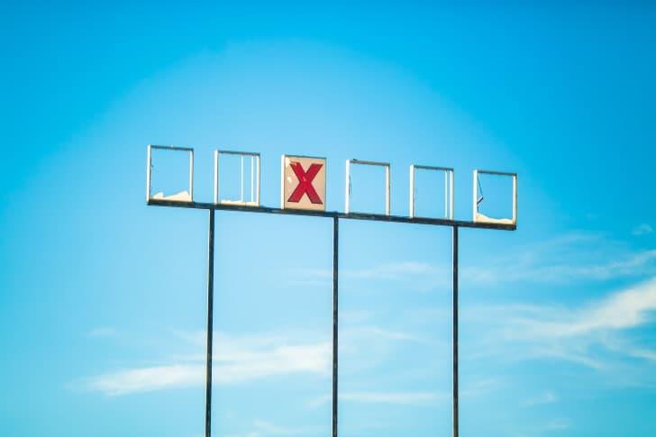 letrero letra x