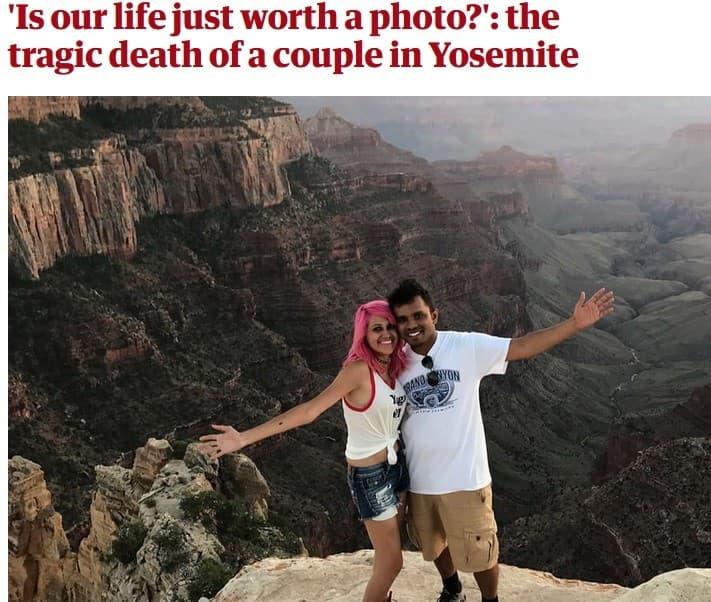 muerte por selfie pareja en yosemite