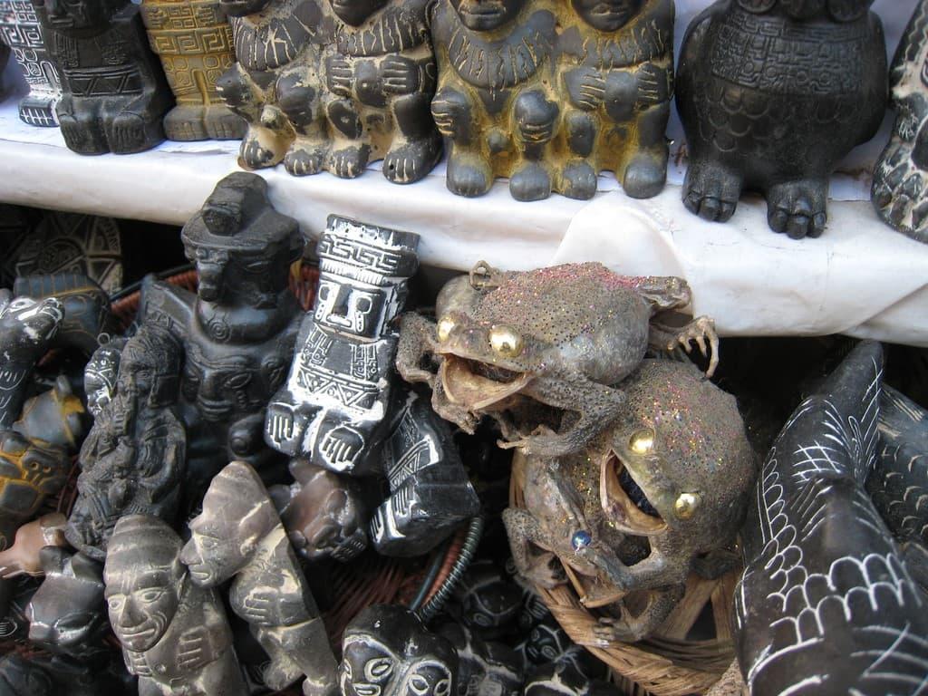 sapos secos en el mercado de las brujas bolivia