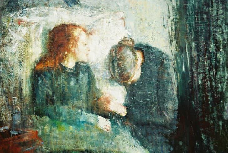 pintura madre llora hija enferma