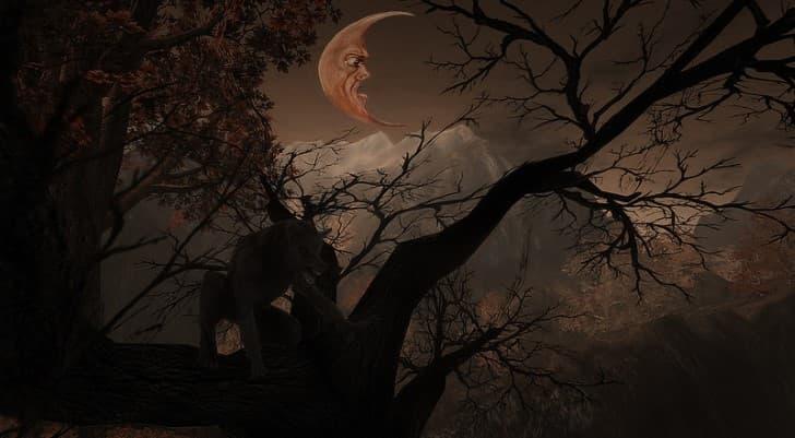 hombre lobo luna