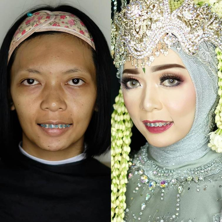 novias indonesia antes despues maquillaje (1)