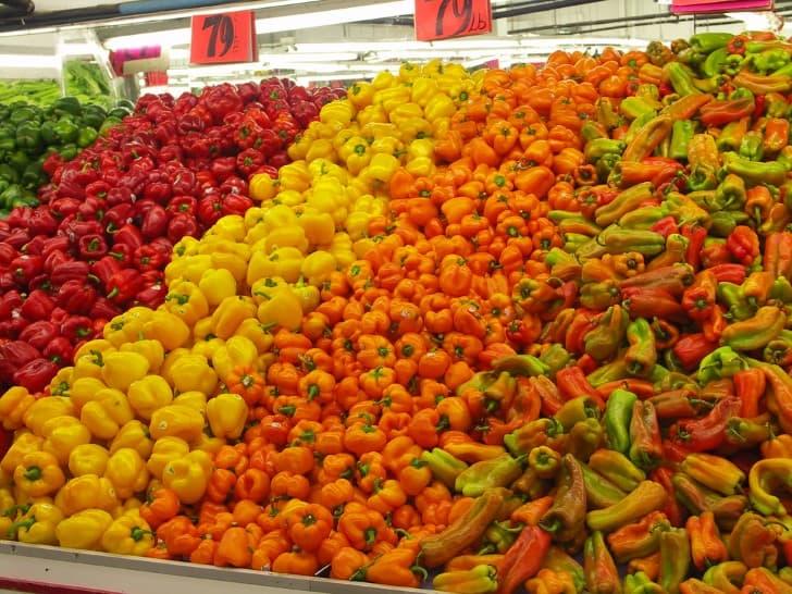 pimientos en mercado
