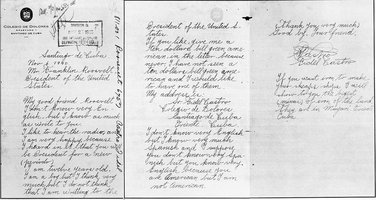 carta de fidel castro a Roosevelt
