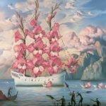 llegada del barco de las flores Vladimir Kush