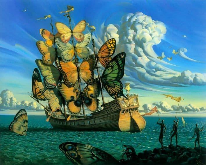 partida del barco alado Vladimir Kush