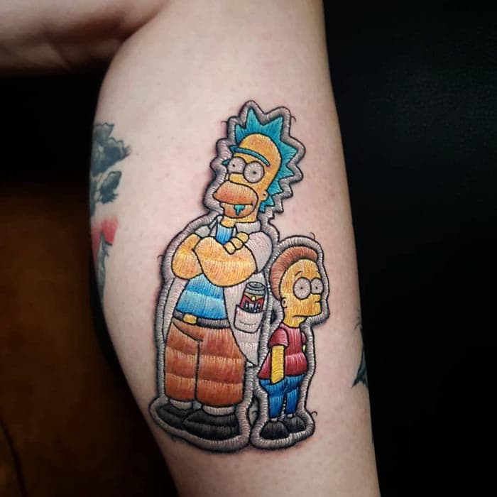 rick morty homero y bart tatuaje estilo bordado (3)