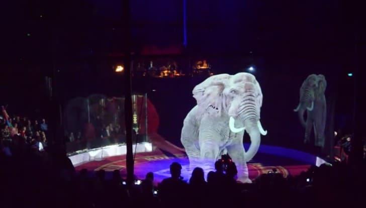 circo holograma elefante