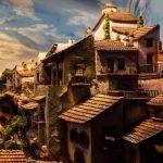 diorama casas estilo antiguo