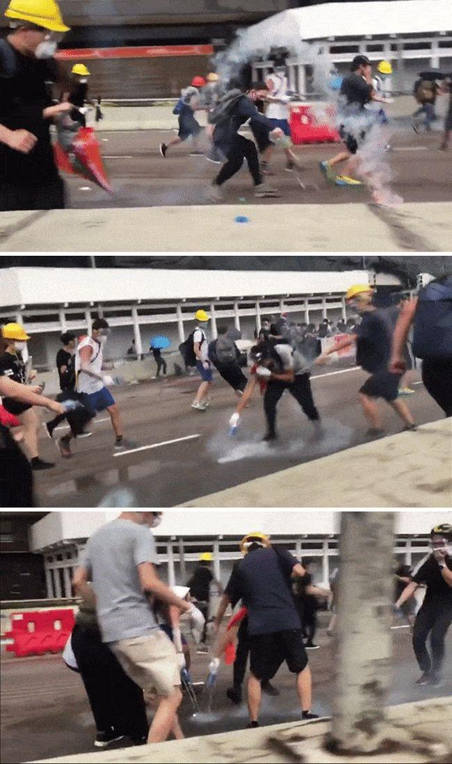manifestacion ejemplar en hong kong apagando incendio