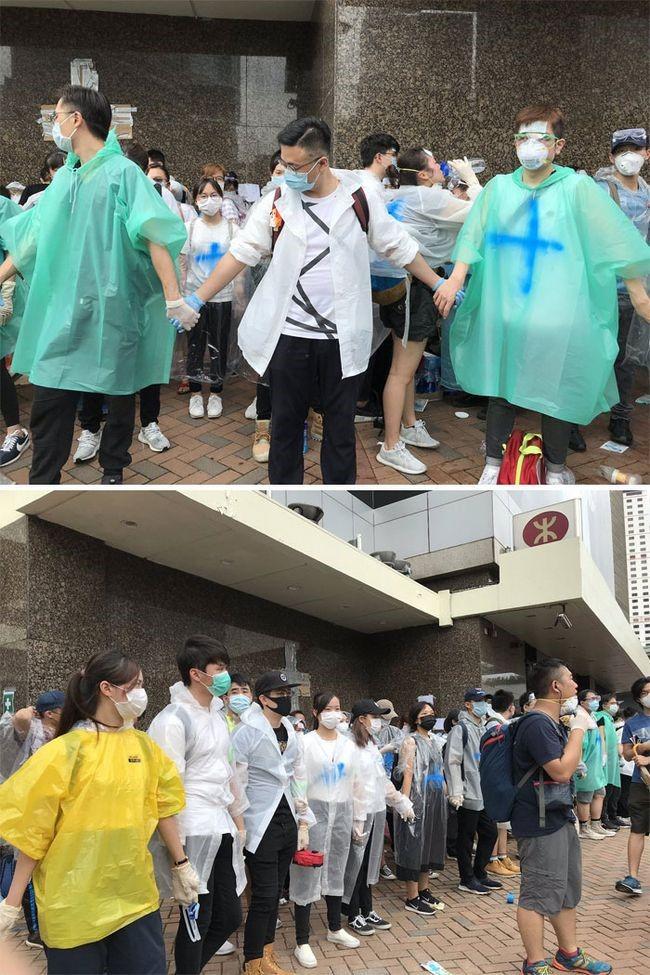 manifestacion ejemplar en hong kong valla humana