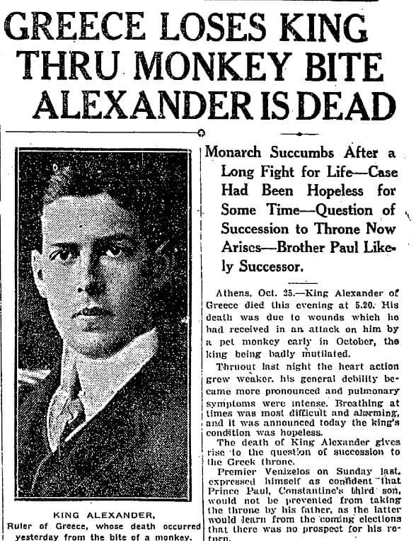 noticia muerte de Alejandro I de Grecia