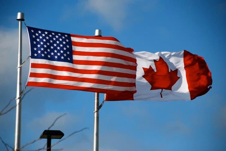 banderas de estados unidos y canada