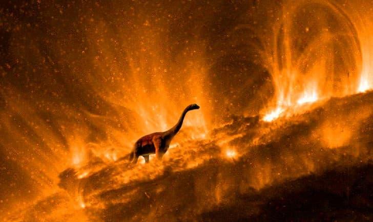brontosaurus caminando sobre el fuego