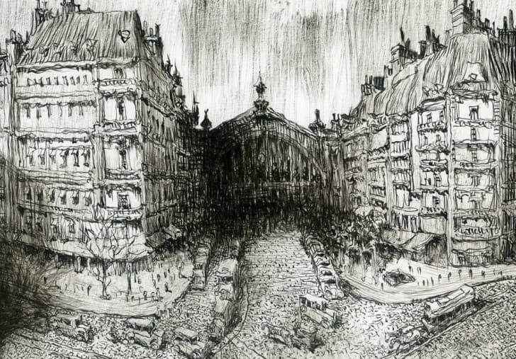 dibujo a lapiz de una ciudad