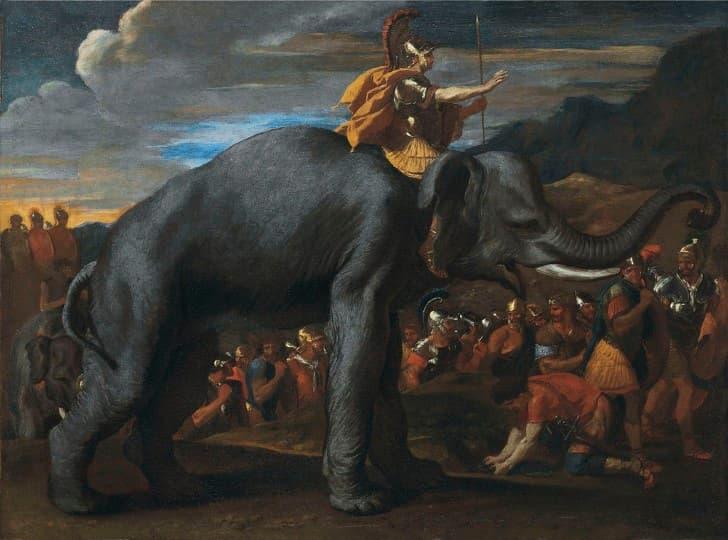 Anibal Barca sobre un elefante de guerra
