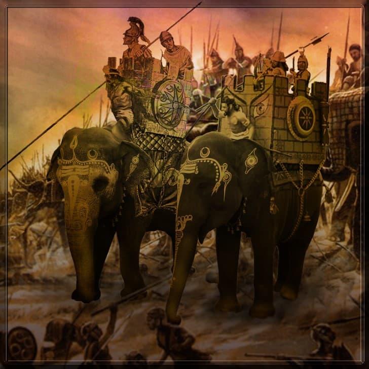 elefantes en la guerra batalla