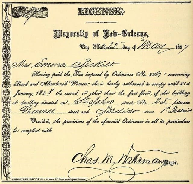 licencia para la operacion de un burdel