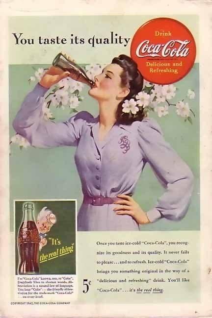 mujer bebiendo coca cola anuncio antiguo