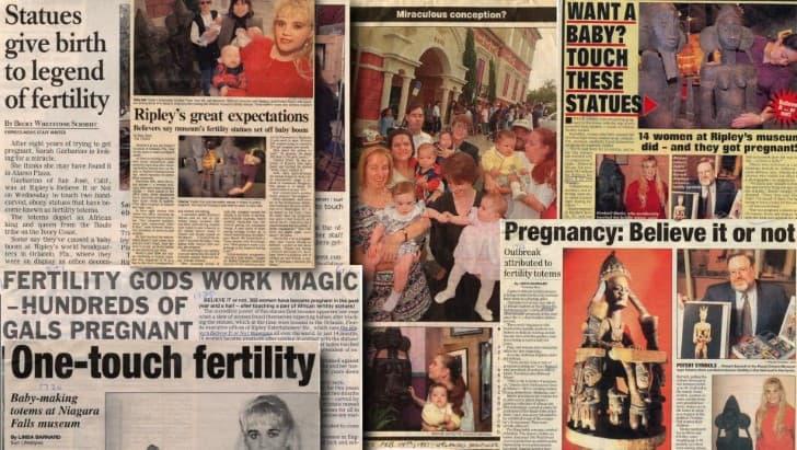 recortes de periodico estatuas de la fertilidad