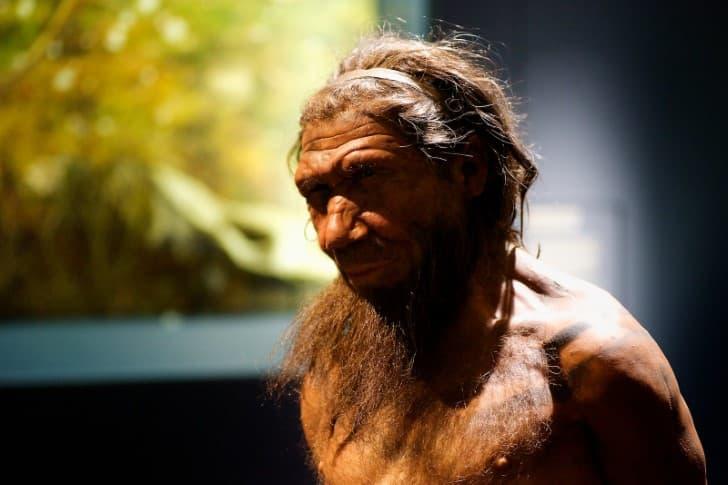 representacion realista de un neandertal