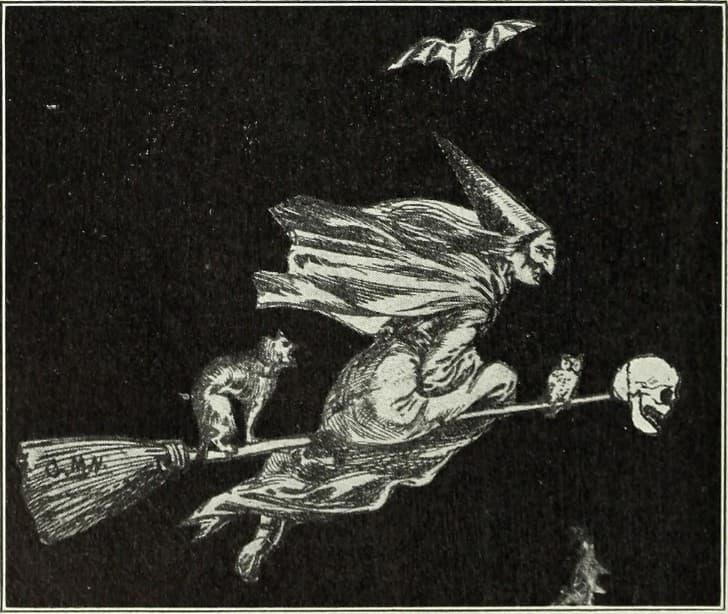 bruja volando sobre una escoba