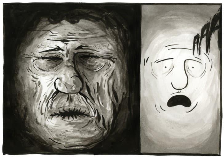 fotografia de un rostro en agonia