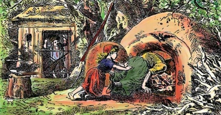 hansel y gretel empujan a la bruja