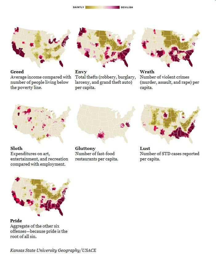 Mapa de los Pecados Capitales en Estados Unidos