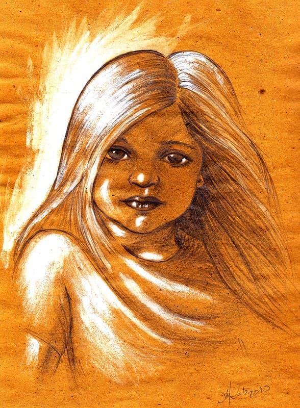 dibujo fotografia de una niña