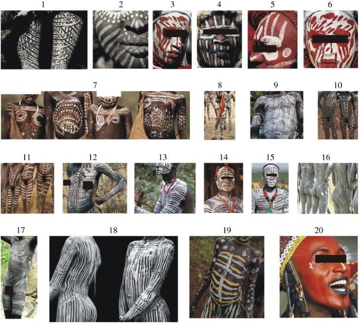 patrones a rayas tribus africada