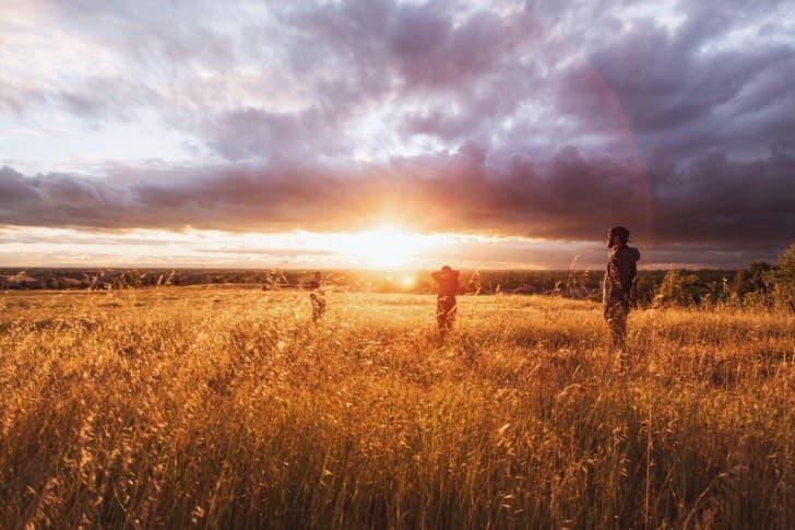 el amanecer en el campo