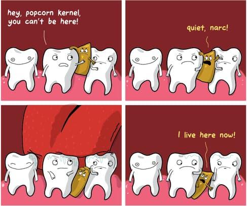 palomita entre los dientes