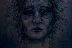 dibujo rostros de mujer deprimida