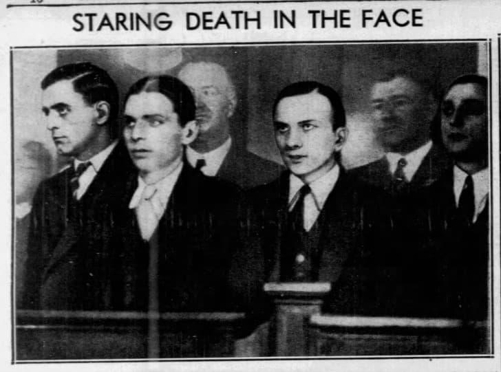 Marino, Kriesberg, Murphy y Pasqua durante el juicio. Brooklyn Daily Eagle, Oct. 20, 1933.