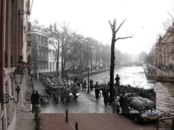 Nazis Marchando en Amsterdam