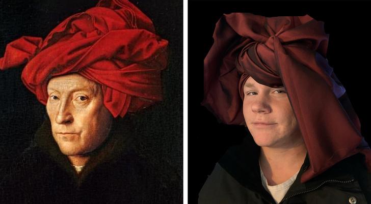 parodias del arte hombre turbante rojo