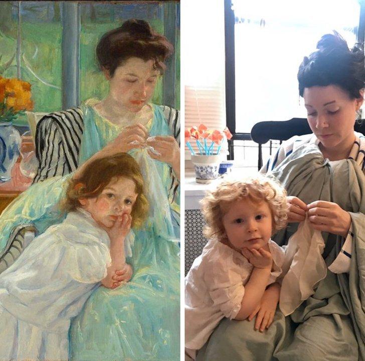 parodias del arte joven madre cosiendo