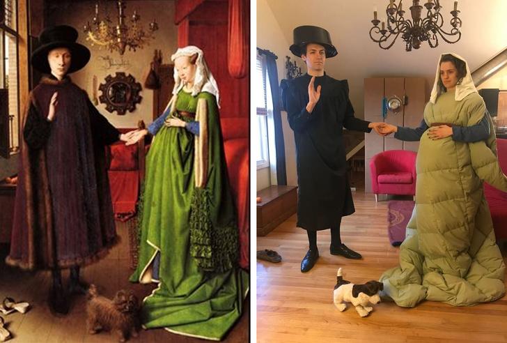 parodias del arte pareja Arnolfini