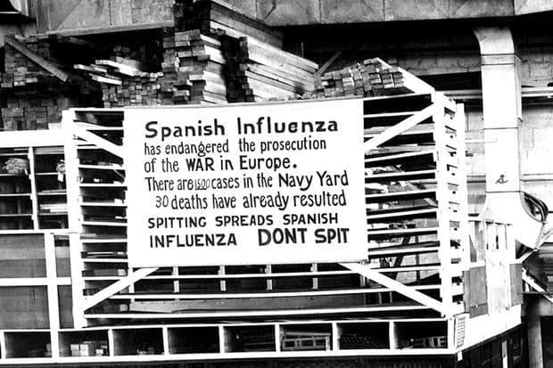 cartel sobre la gripe española y la negacion de la Liga Antimáscara