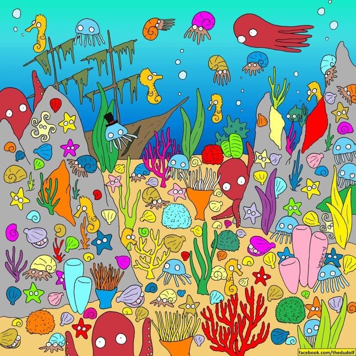 encuientra al pez acertijo visual