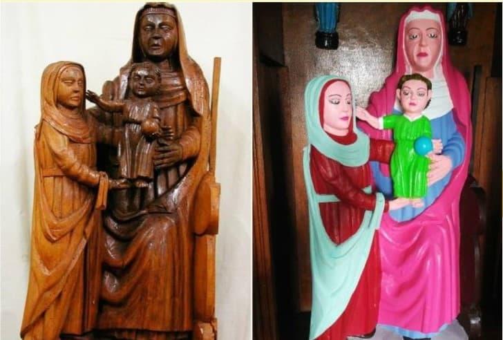 pintan de colorores estatua de madera religiosa