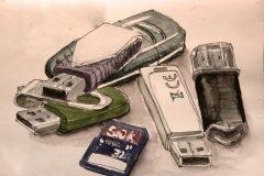 memorias usb y microsd dibujo