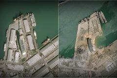 antes y despues explosion en Beirut 2020