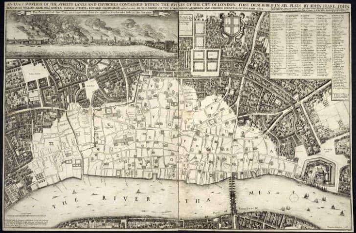 Mapa del Gran Incendio de Londres