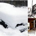 hombre atrapado en la nieve Suecia