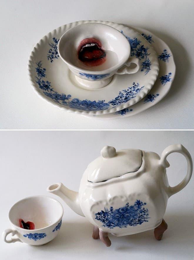 escultura cerámica con manos bocas y dedos (13)
