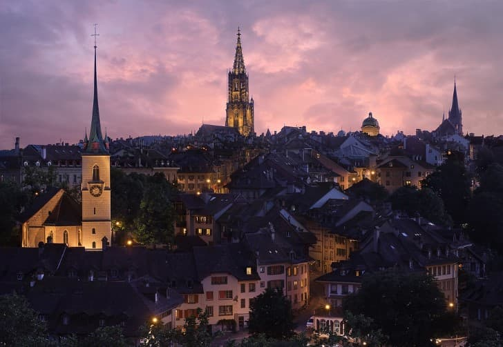 Berna Suiza al atardecer