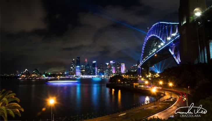 Las luces de Sidney Australia por la noche