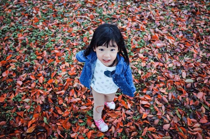 niña jugando en un montón de hojas(1)